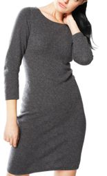 Grey Warm 100% Cashmere Bodycon Sweater Dress
