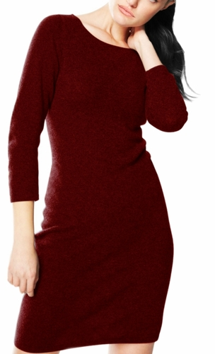 Luxurious Warm and Soft 100% Cashmere Bodycon Sweater Dress (Maroon)
