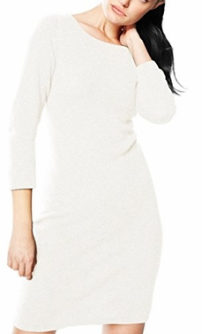 Off White Luxurious Warm and Soft 100% Cashmere Bodycon Sweater Dress