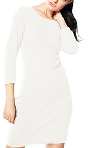 Luxurious Warm and Soft 100% Cashmere Bodycon Sweater Dress (Off White)