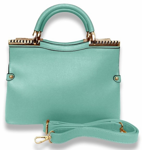 MADISON Refined Metal Embellished Luxury Work Travel Tote Handbag (Aqua)