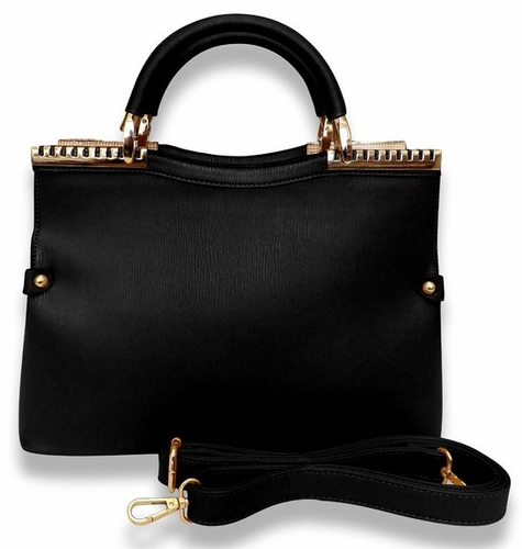 Black Refined Metal Embellished Luxury Work Travel Tote Handbag