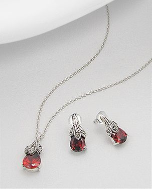 Marcasite and Red Zirconia Sterling Silver Tear Drop Pendant and Earring Set
