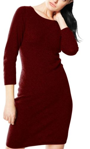 Maroon Luxurious Warm and Soft 100% Cashmere Bodycon Sweater Dress