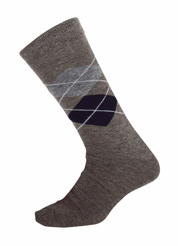 Men�s Soft and Warm Comfortable Long Argyle Cashmere Socks (Brown)