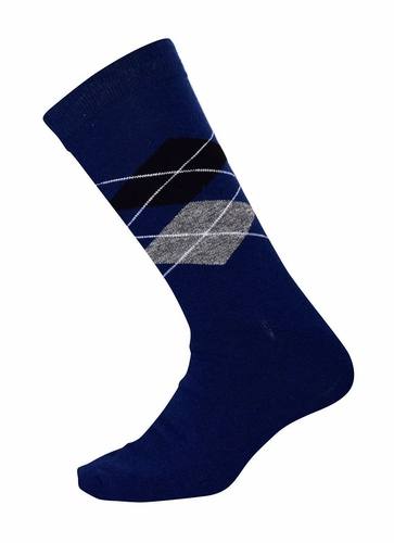 Men's Soft and Warm Comfortable Long Argyle Cashmere Socks (Navy)