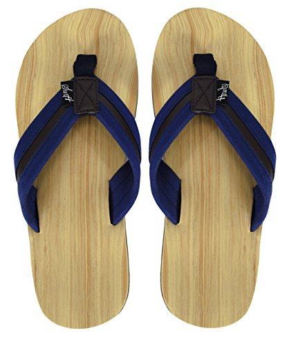 cce829dce Mens Beach Flip Flops Faux Wood Textured Strappy Slip On Beach Sandals (More  Colors)