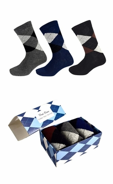 Men's Cotton Crew Argyle Socks in a Box 3 Pack Black Dark Grey Navy