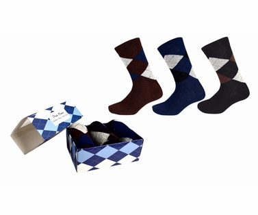 Men's Cotton Crew Argyle Socks in a Box 3 Pack Brown Black Navy