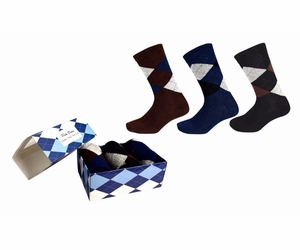 Men's Classic Cotton Crew Argyle Socks in a Box 3 Pack - Brown Black Navy