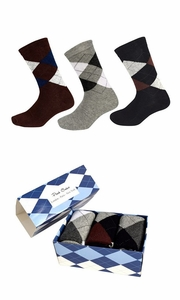 Men's Classic Cotton Crew Argyle Socks in a Box 3 Pack - Brown Light Grey Black