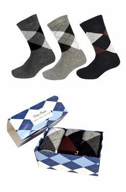 Grey Mens Classic Cotton Crew Argyle Socks in a Box 3 Pack Light Grey Black Dark