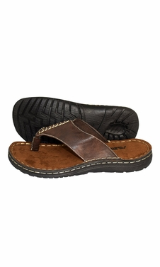 Brown Mens Classical Slippers Casual Leather Sandals Comfortable Shoes