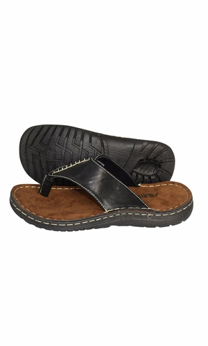 Black Mens Classical Slippers Casual Leather Sandals Comfortable Shoes
