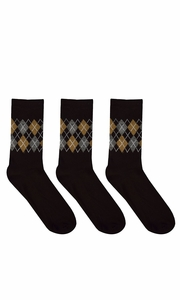 Black Mens Colorful Argyle 3 and 6 Pack Stretch Variety Socks 6-12 Shoe Size 3 Pack