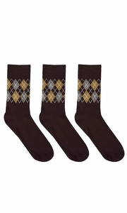 Brown Mens Colorful Argyle 3 and 6 Pack Stretch Variety Socks 6-12 Shoe Size 3 Pack