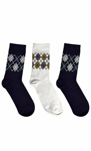 Black Grey White Mens Colorful Argyle 3 and 6 Pack Stretch Variety Socks 6-12 Shoe Size 3 Pack