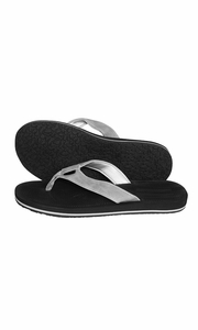 Black Silver Mens Flip Flop Synthetic Suede Stappy Beach Flats Sandals