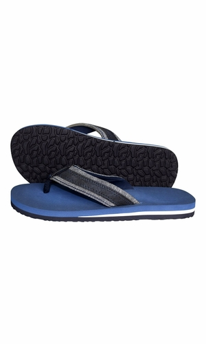 Blue Mens Flip Flop Synthetic Suede Stappy Beach Flats Sandals