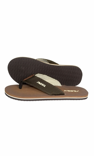 Brown Beige Mens Flip Flop Synthetic Suede Stappy Beach Flats Sandals