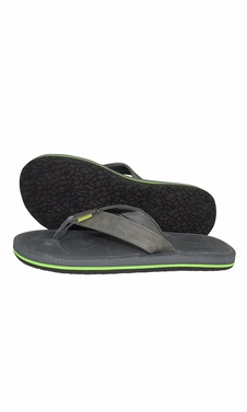 Grey Green Mens Flip Flop Synthetic Suede Stappy Beach Flats Sandals