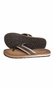 Taupe Mens Flip Flop Synthetic Suede Stappy Beach Flats Sandals