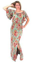 Mint Bell Sleeves Floral Print Pleat Fabric Tiered Side Slit Maxi Dress