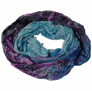 Blended Paisley Fashion Infinity Loop Scarf (Blue/Purple)