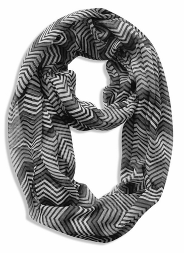Black-Grey-White Multi-Color Chevron Geometric Infinity Loop Scarf