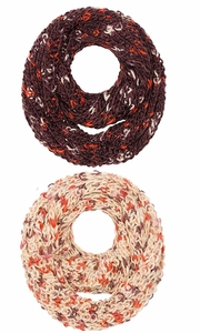 Beige Brown Multi Color Hand Knit Thick Chunky Infinity loop Scarves