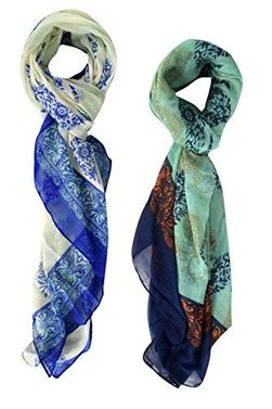 Multi Color Paisley Flower Lightweight All Season Scarf