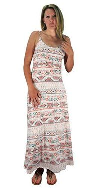 Floral Boho Multi Print Spaghetti Strap Scoop Neck Summer Maxi Dress