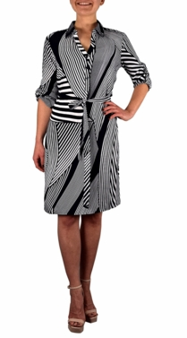 Navy White Multi Pattern Button V Neck Shift Dress 3/4 Sleeve