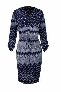 Blue Multi Pattern Button V Neck Shift Dress 3/4 Sleeves