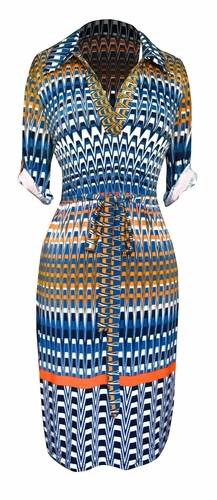 Multi Pattern V Neck Shift ¾ Sleeve Waist Tie Shift Dress (Teal Orange)