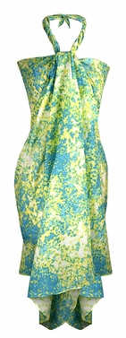 Multi Purpose Hawaiian Scarves Pareo Beach Wraps Sarongs Lime Blue