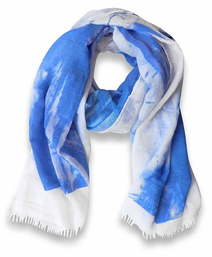 Blue/White Multicolor Abstract Feather Flower Light Eyelash Fringe Scarf