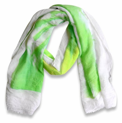 Green/White Multicolor Abstract Feather Flower Light Eyelash Fringe Scarf