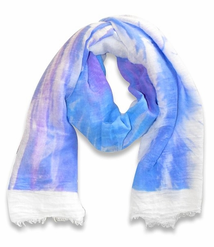 Multicolor Abstract Feather Flower Light Eyelash Fringe Scarf (Purple/White)