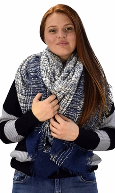 Navy Multicolor Tartan Plaid Oversized Blanket Scarf Shawl Wrap Poncho
