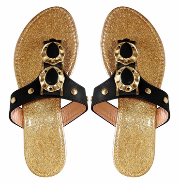 Black Sparkle Comfort Tear Drop Flat Beach Sandal