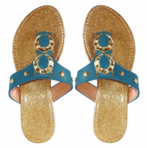 Blue Sparkle Comfort Tear Drop Flat Beach Sandal