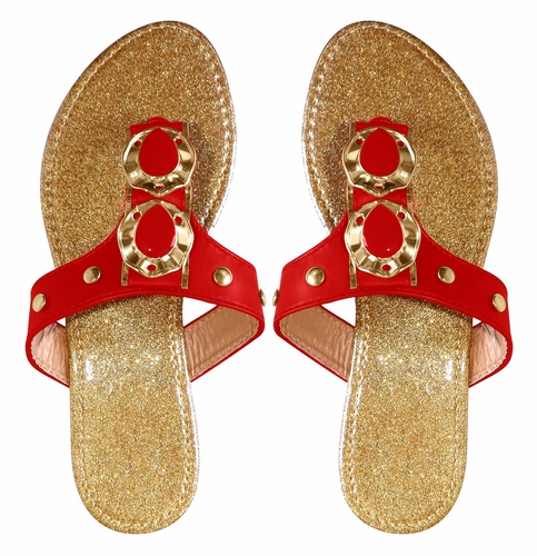Red Sparkle Comfort Tear Drop Flat Beach Sandal