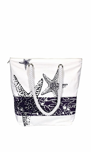Nautical Starfish Bags Pure Cotton Canvas Bags Beach Bags Designer Handbags Purses Tote Bags Picnic Bags Violet