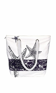 Violet Nautical Starfish Cotton Canvas Beach Handbags Purses Tote Bags Picnic Bags