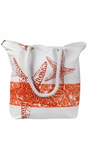 Orange Nautical Starfish Cotton Canvas Beach Handbags Purses Tote Bags Laundry Bags