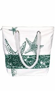 Nautical Starfish Bags Pure Cotton Canvas Bags Beach Bags Messenger bags Handbags Purses Tote Bags Green