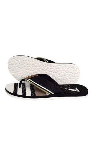 Nautical Summer Men's Beach Summer Flip-Flops Sandals Slippers Beige Black