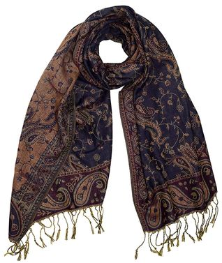 Navy Beige Elegant Double Layer Reversible Paisley Pashmina Shawl Wrap Scarf