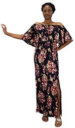 Navy Bell Sleeves Floral Print Pleat Fabric Tiered Side Slit Maxi Dress